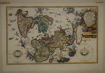 1702 Elegant Genuine Antique map World from Arctic Polar projection. H. Scherer