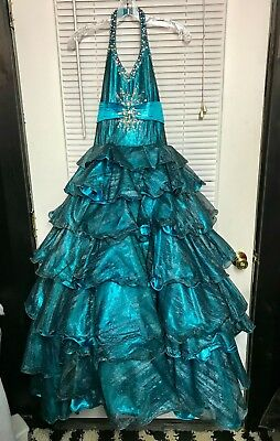 Sugar by MacDuggal Pageant Dress Size 12 Turquoise/Black Shimmer Beautiful