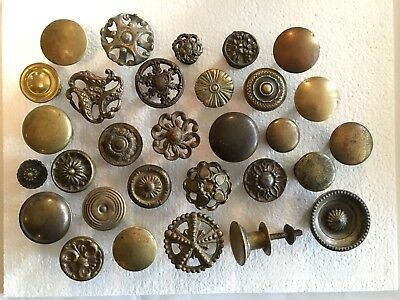 Lot of 30 Antique Victorian Brass Knobs