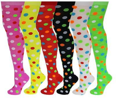 2772ce475 6 Pairs Women Assorted Polka Dot Colorful Thigh High Over The Knee Socks  9-11
