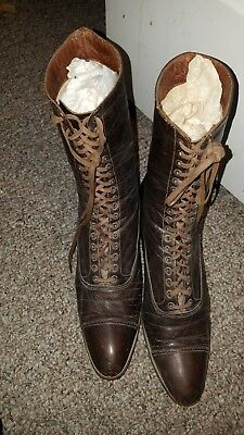 Vintage Antique Women's Tall Lace-up  Brown Leather Boots victorian style