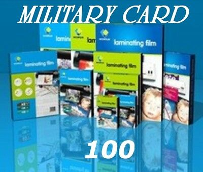 Clear 100 MILITARY CARD Laminating Laminator Pouches Sheets 2-5/8 x 3-7/8 5 Mil