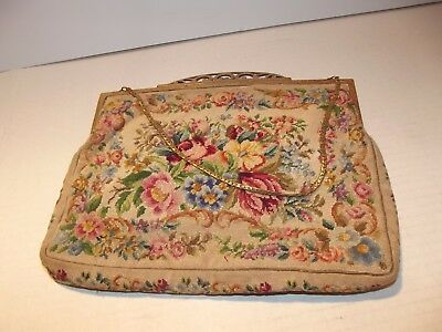 Vintage N B M Tapestry Clutch Purse. Made in Austria Used and Worn