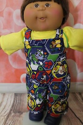 """Cabbage Patch Doll Cloths- Boys - Paw Patrol Overall set -   fits 16"""""""