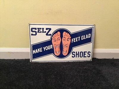 """Vintage Selz Shoes W/ Talking Feet 15"""" Embossed Metal Coutry/ General Store Sign"""