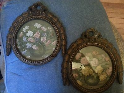 Set Of Antique Ornate Pictures With Frames Floral Victorian Shabby Chic