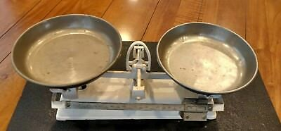 Antique Vintage Cast Iron Balance Scale With Nickel Over Brass Pans