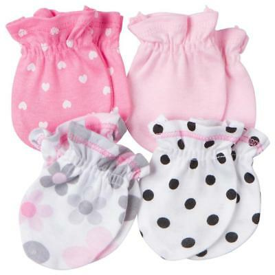 Gerber Newborn's Girl's 4-Pack Mittens - Floral Pink White Size 0-3M Ships Free!