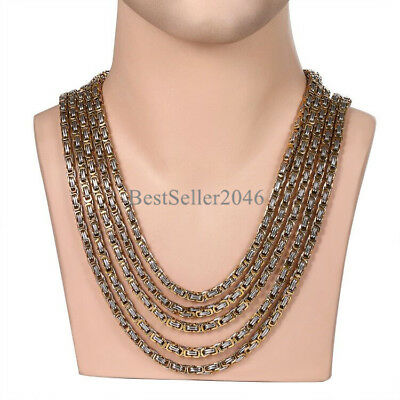 """Stainless Steel Biker Mens 5mm Byzantine Chain Silver Gold Tone Necklace 22""""-30"""""""