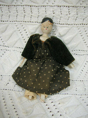 Antique Penny Wooden Doll, Early 19th Century, c1820s, Orig. Clothing, As-Is