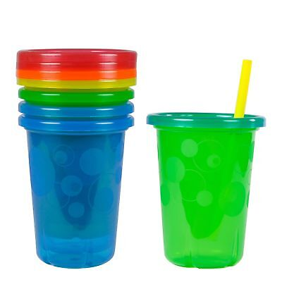 4 Pack Plastic Cups Spill Proof Tumbler With Lids Straws Sippy Baby Toddler Kids