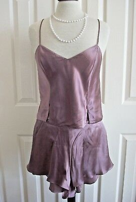 VICTORIAS SECRET Camisole Shorts Set Pajamas Silk Mauve 90s Vintage Medium NWT