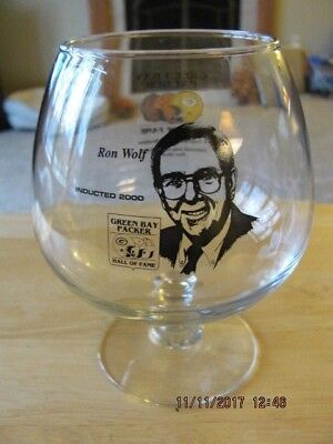 Green Bay Packers Hall of Fame 2000 Brandy Glass Honoring Ron Wolf