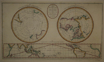 1782 World Map in Three Views: North & South Polar, & Equatorial. by J.A. Bayley