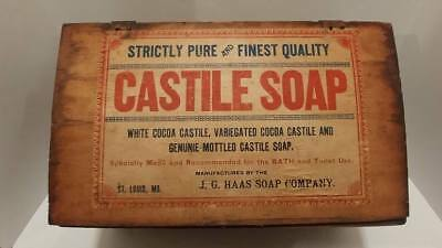 RARE Antique Castile Soap St. Louis, MO Crate Wood Box Hinged Lid 36lb J.G. Haas