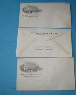 3 vtg Envelopes Canadian National Railways Prince Arthur Hotel  Railroad unused