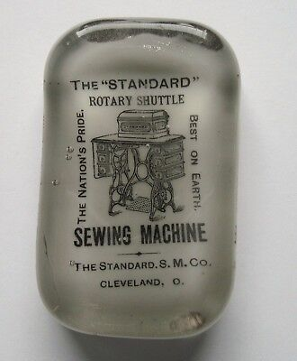 Standard Shuttle Sewing Machine Cleveland Glass Advertising Paperweight Abrams