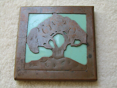 Antique Mission Arts & Crafts Era Hand Hammered COPPER TREE TILE JADEITE SIGNED