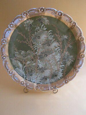 """Antique B&h Limoges Hand Painted Floral Gold Encrusted Charger 12"""" France Plate"""