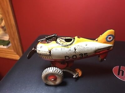 Vintage Japan Wind Up Toy Tin Plane Parts