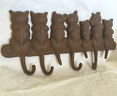 Wall Hook Vintage Style Cast Iron 7 Cats & Kittens Brown Rustic Finish Key Hook
