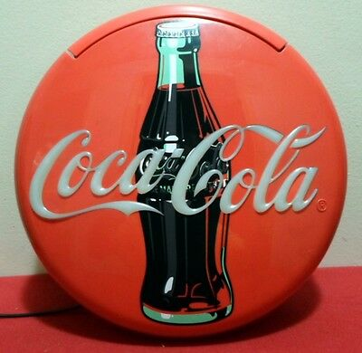 1995 Coca Cola Working 12 Inch Round Wall/desk Telephone With Flashing Lights