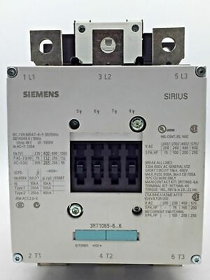 SIEMENS 3RT1065-6LA06 Contactor 3 Pole AC-3 132kW 265A @ 400V 110V/50HzDC Coil