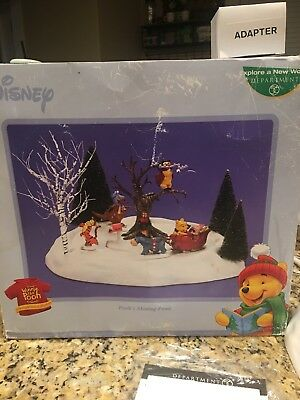 Disney Dept. 56 Winnie The Pooh Skating Pond W/box Hard To Find Org Adapter
