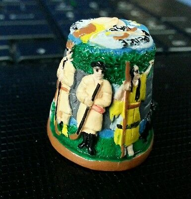 Thimble Hand-painted Terra Cotta Earthenware Clay Lewis and Clark