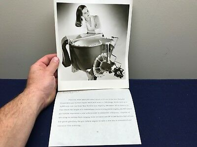 Vintage Chrysler Turbine Car  Gas Engine & Photo Press Release Judy Hepler 1962