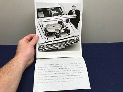 Vintage Chrysler Turbine Car  Gas Engine & Photo Press Release Plymouth