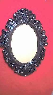 New Oval Vintage Antique Style Black Tone Hanging Wall Mirror Plastic AC-2022