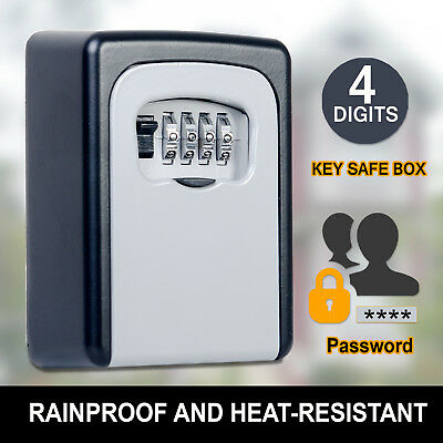 Rain Proof Weather Resistant 4 Digit Wall Mount Key Box Outdoor Locker Security