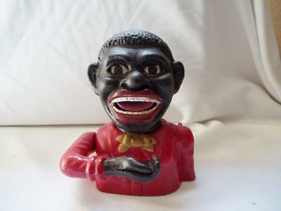 Cast Iron Black Americana Red Jolly Negro Mechanical Bank John Harper England