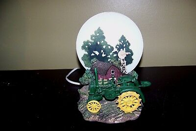 Vintage John Deere Tractor Lamp / Nightlight Farm Scene Moon