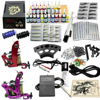 Profi Tätowierung 2 Tattoo Gun Komplett Tattoomaschine Set Kit  + 20 Farben DEU