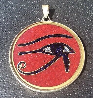 """$72 Eye of Horus 1 5/8"""" Medallion Coral Gemstone Necklace Sterling Silver #Gift"""