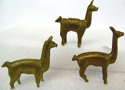 "Vintage Lot of 3 Mini 2"" INDIA Solid Brass Llama Alpaca Vicuna Figures Figurines"