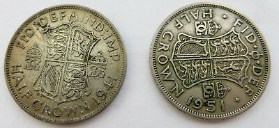 Lot of 2 British Silver Half Crowns - 1941 and 1951 - King George VI