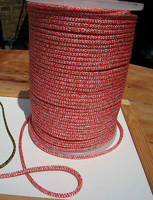 9m X 6mm RED & WHITE DOUBLE BRAID POLYESTER YACHT MARINE & SAILING ROPE -- NEW