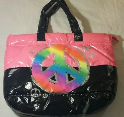 Justice Hand Bag Juniors Girls Pink Black Peace Rainbow Glitter