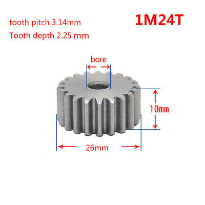 Spur Gear 1 Mod 24T Motor Gear 45# Steel Thickness 10mm Outer Dia 26mm x 1Pcs