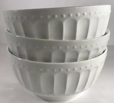 Gibson Designs Regalia Set of 3 Embossed Soup/Cereal Bowls (White)