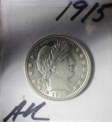 ⭐1915 - AU (About Un-circulated) - BARBER QUARTER DOLLAR⭐!!!