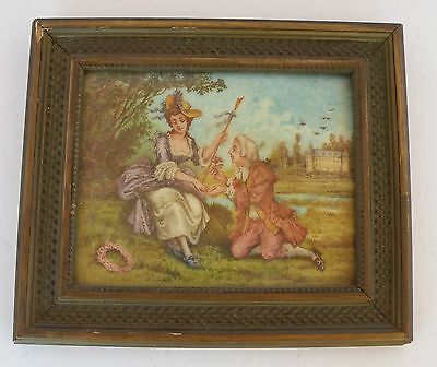Antique Italian painted tile of a Victorian couple with frame, amazing detail