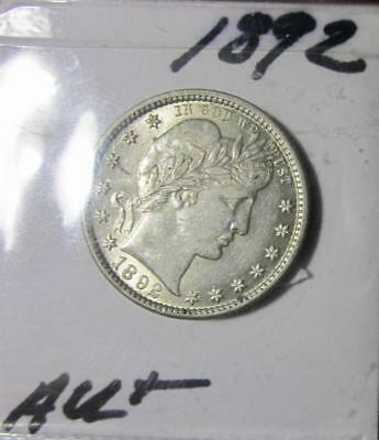 ⭐1892 - AU+ (About Un-circulated) - BARBER QUARTER DOLLAR⭐!!!