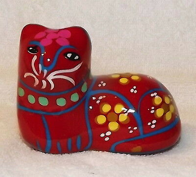 RED CLAY red CAT yellow flowers FIGURINE mexico?