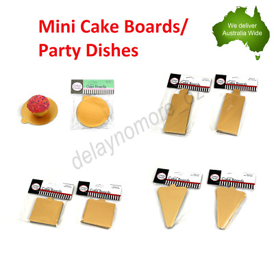 100 x Mini Cake Boards Wedding Party Cupcake Board Dishes Shaped Baking Gold NEW