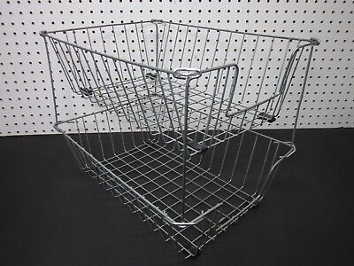 LOT of 2 Vintage DEEP Industrial Metal Wire In-Out Letter Size Desk Tray Basket