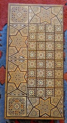 Damascus / Syrian Mosaic Mother of Pearl Chess / Backgammon Game - Mid 20th Cent
